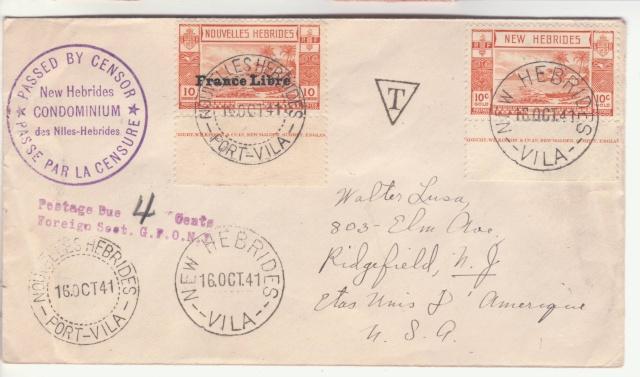 Nouvelles Hébrides - Timbres utilisés dans les deux bureaux postaux. _1002611