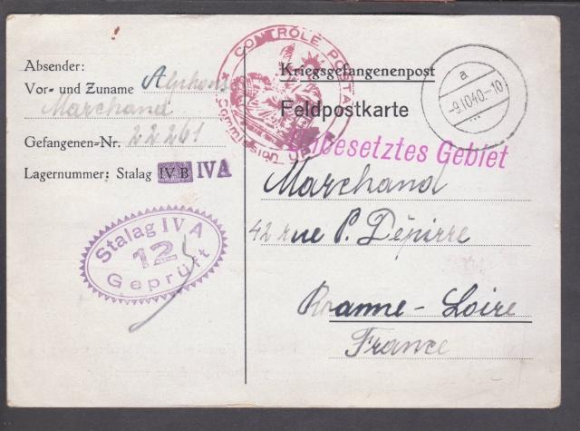 Les cachets UP après l'armistice et jusqu'en novembre 1940 _12010
