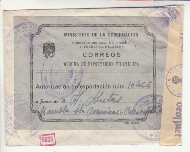 Fiche d'autorisation pour l'exportation de timbres postes en Espagne. _1300011