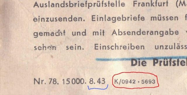 Lettres recommandées en exprès des STO ne sont plus admises temporairement par la censure de Francfort/M (e)  pour la zone sud _3001811