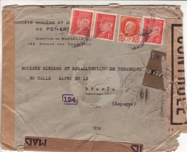 Lettre de Marseille du 20 juillet 1944 pour Madrid, arrivée en septembre 45!! _310