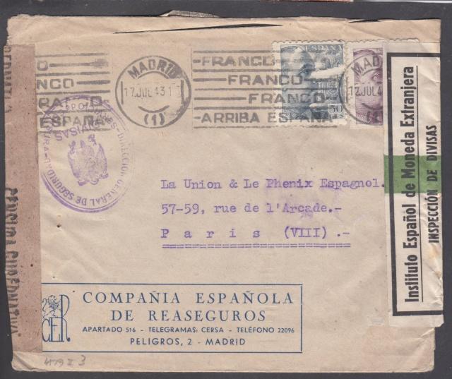 Contrôle des devises du courrier au départ d'Espagne. _8001310