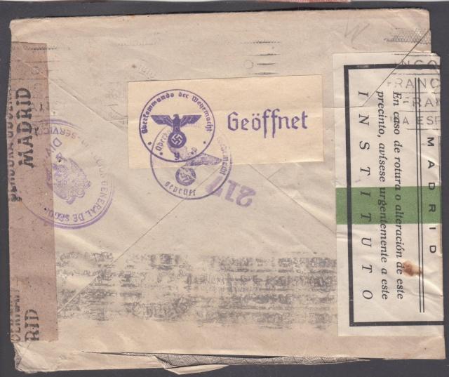 Contrôle des devises du courrier au départ d'Espagne. _9000910