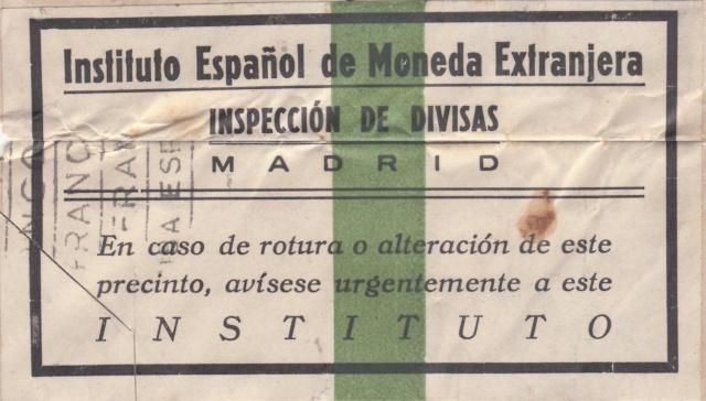 Contrôle des devises du courrier au départ d'Espagne. Bd111