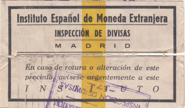Contrôle des devises du courrier au départ d'Espagne. Bd310
