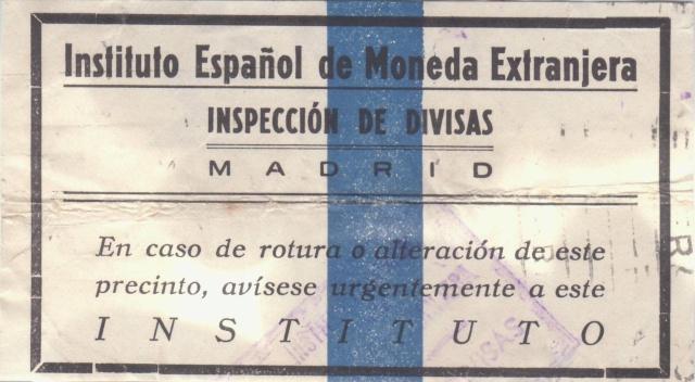 Contrôle des devises du courrier au départ d'Espagne. Bd410
