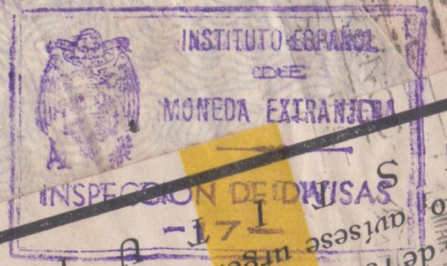 Contrôle des devises du courrier au départ d'Espagne. Devise10
