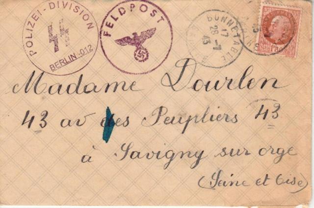Courrier interieur de 1941 - département de l'Ain avec un cachet de la Police allemande !! Faux_211