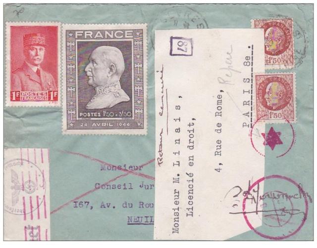 """Lettre affranchie avec des timbres Pétain - le vendeur la signale comme """"SPECTACULAIRE"""" !! Specta10"""