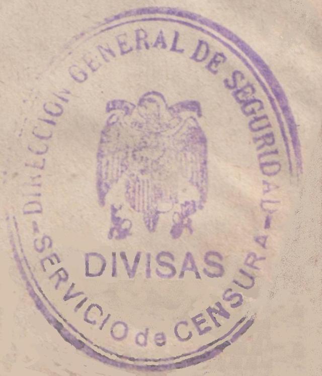 Contrôle des devises du courrier au départ d'Espagne. St_dev10