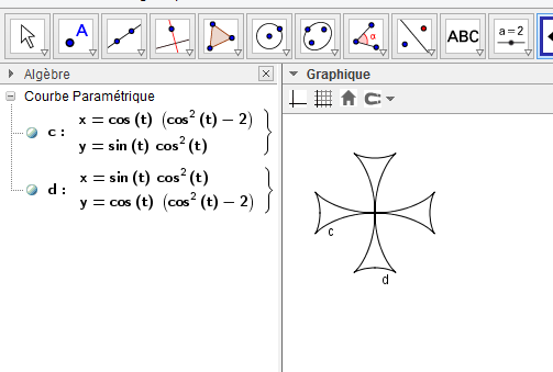 Activité Geogebra dès la sixième : Herbier de courbes mathématiques. - Page 3 Croix_10