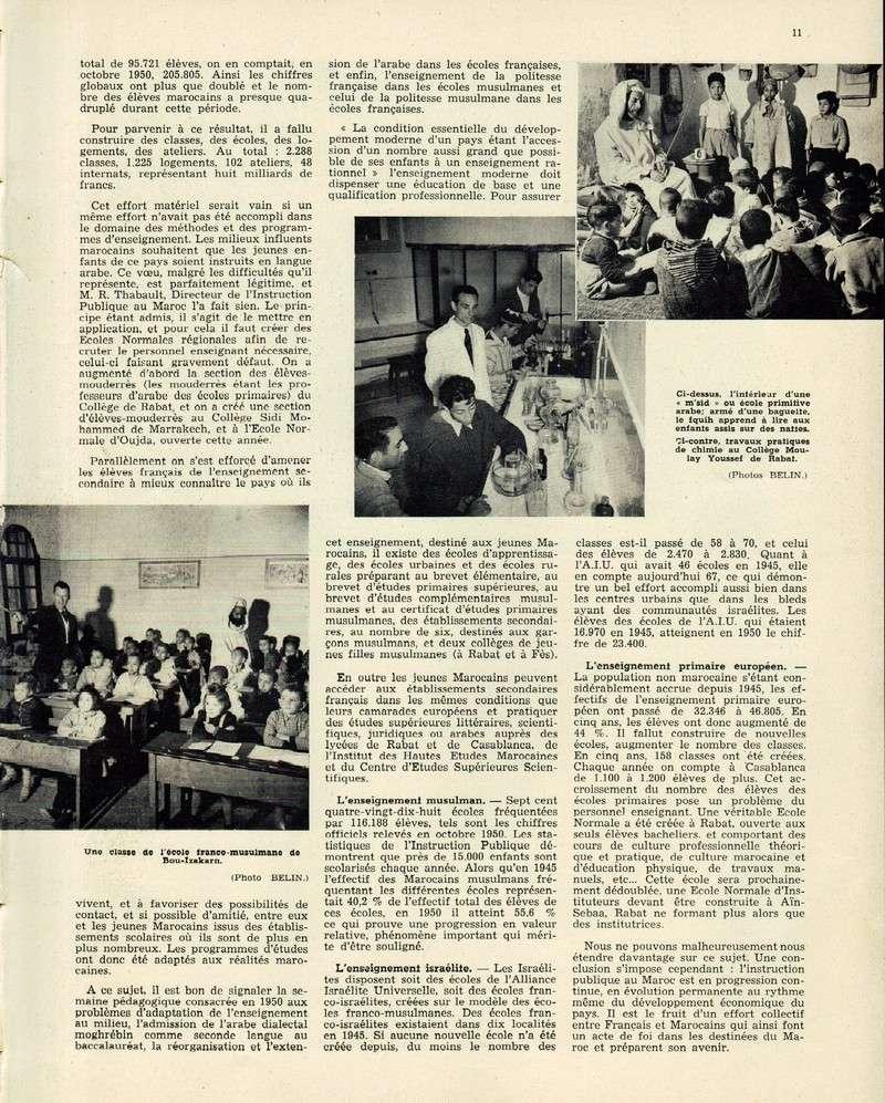Evolution du Maroc en 1951. 11-sws11