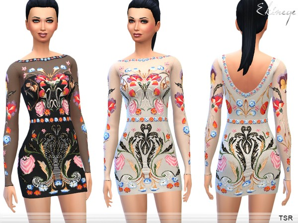 Flowers Embroidered Dress by ekinege W-600h29
