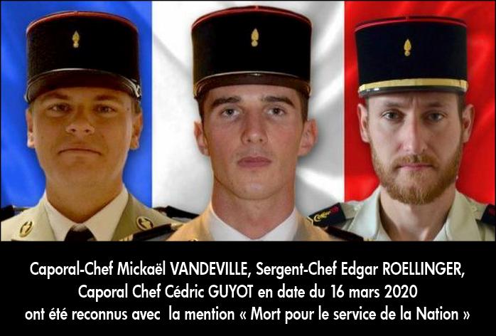 Le ministère vient d'attribuer la mention aux 3 militaires décédés en Guyane Camps_10