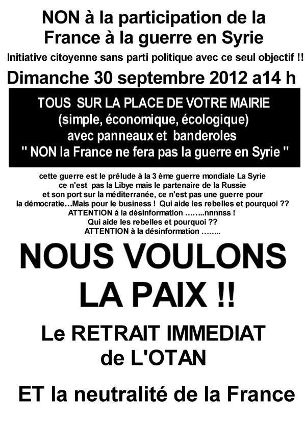Syrie : Non à la participation de la France dans cette guerre !  Syrie11