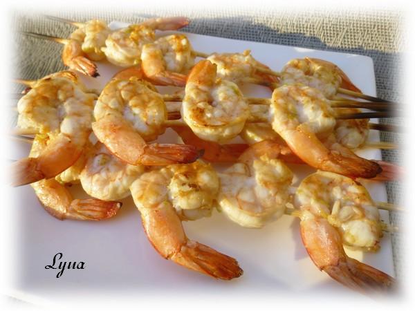 Brochettes de crevettes sur bbq Crevet13