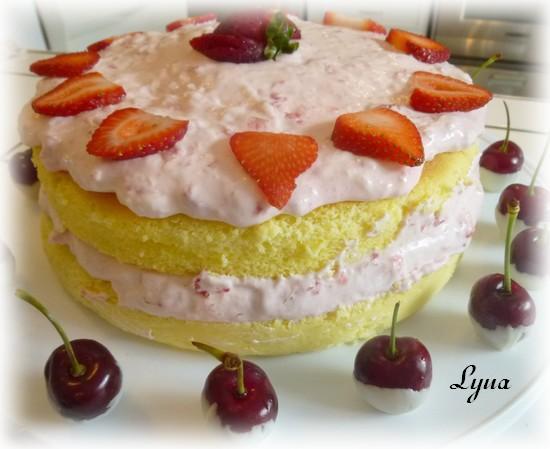 Gâteau au fromage Japonais, garniture aux fraises Gateau14