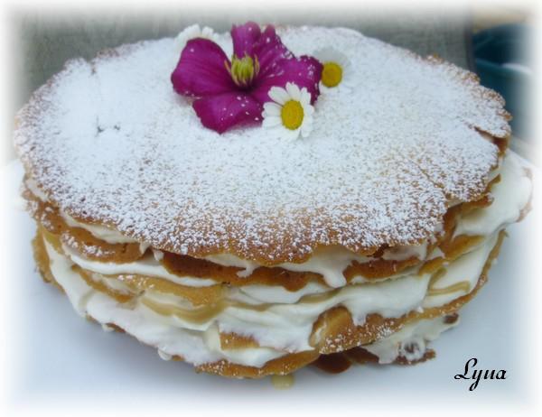 Gâteau étagé de gaufrettes (tuiles), sauce au sucre à la crème Gyteau11
