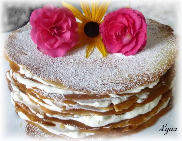 Gâteau étagé de gaufrettes (tuiles), sauce au sucre à la crème Gyteau12