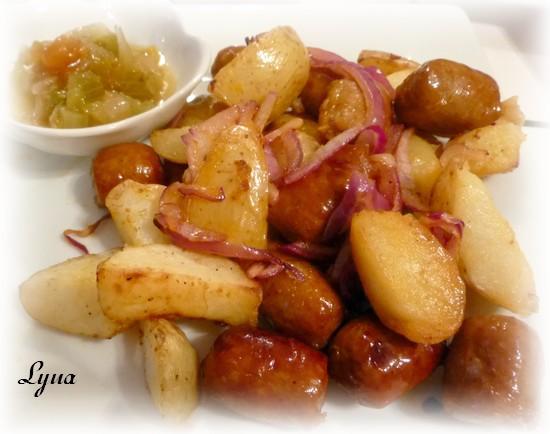 Merguez et pommes de terre (actifry) Mergue11
