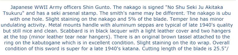sabre, wakisashi, gunto, mes armes blanches du Japon moderne,  - Page 2 001_sh11