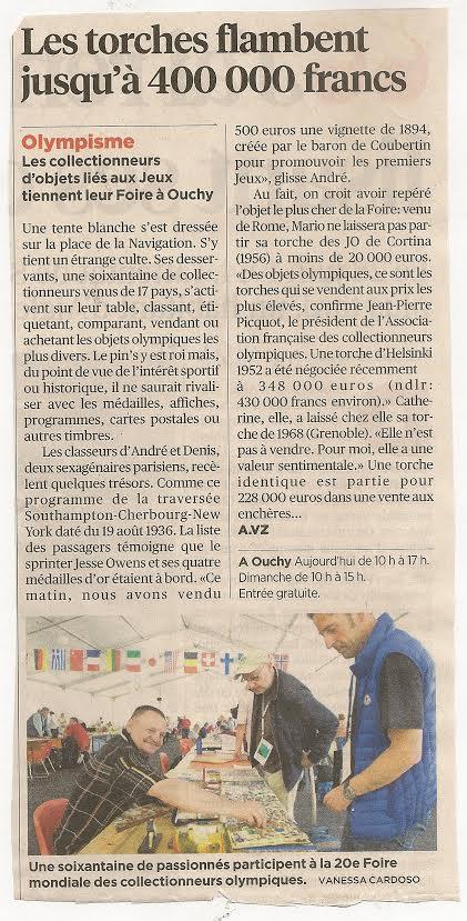 24 heures Lausanne - Retour sur la 20e Foire Mondiale des Collectionneurs Olympiques - Lausanne 2014 24h_fa10