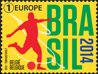 Timbre (Belgique) - Coupe du Monde de Football FIFA Brazil 2014 Belgiq10