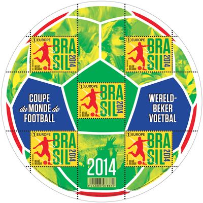 Timbre (Belgique) - Coupe du Monde de Football FIFA Brazil 2014 Belgiq11