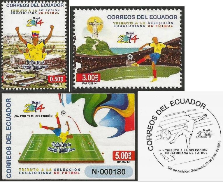 Timbres (Equateur) - Coupe du Monde de Football FIFA Brazil 2014 Equate10