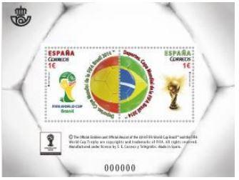 Timbre (Espagne) - Coupe du Monde de Football FIFA Brazil 2014 Espagn10