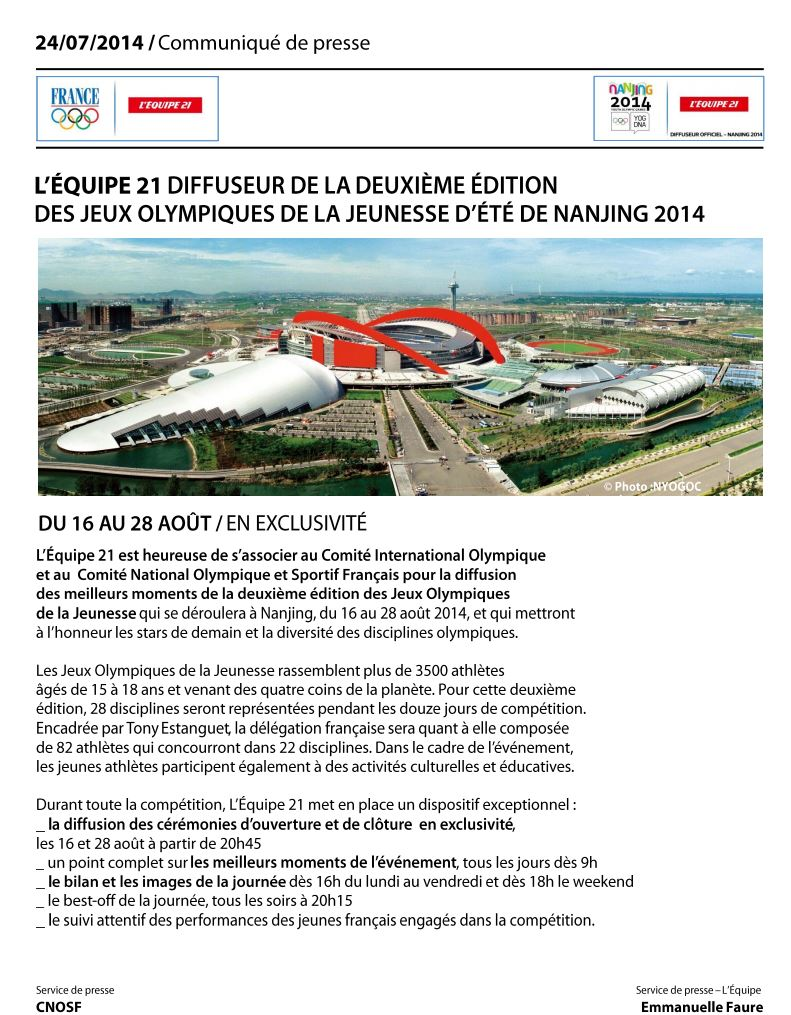 Les Jeux Olympiques de la Jeunesse seront sur L'Equipe21 Joj_le10