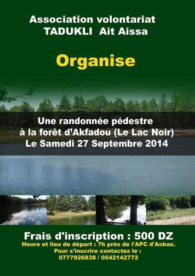 """l'association volontariat """"tadukli"""" Ait Aissa organise une randonnée pédestre à la forêt d'akfadou (lac noir) le samedi 27 septembre 2014  Tadukl10"""