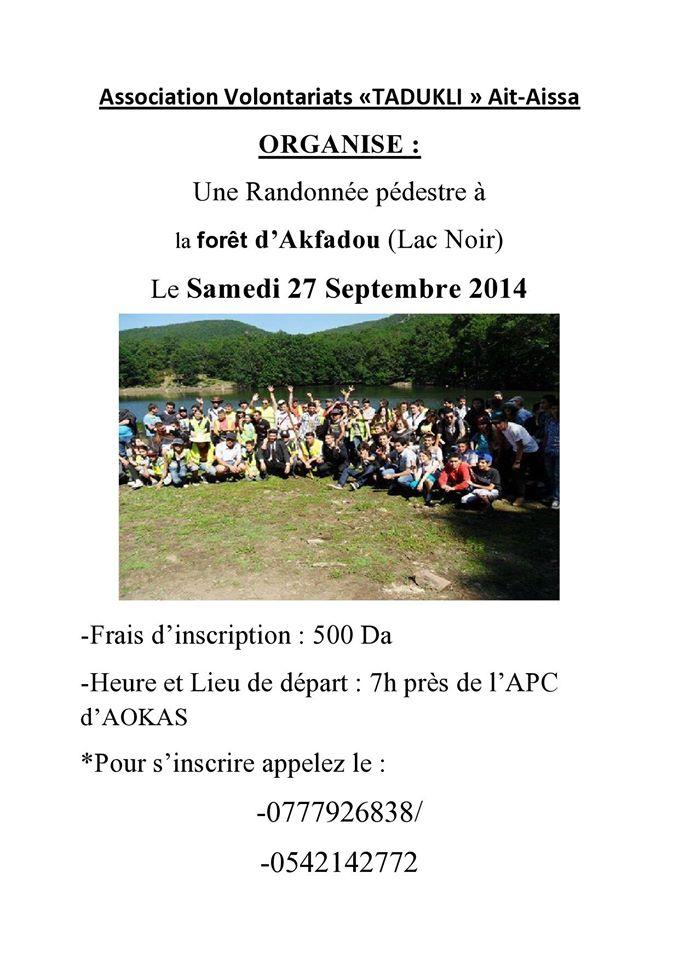 """l'association volontariat """"tadukli"""" Ait Aissa organise une randonnée pédestre à la forêt d'akfadou (lac noir) le samedi 27 septembre 2014  Tadukl11"""
