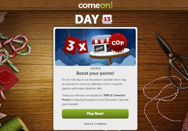 ComeOn Casino Christmas Calendar 13th December 2014 Comeon13