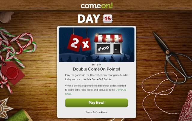 ComeOn Casino Christmas Calendar 15th December 2014 Comeon15