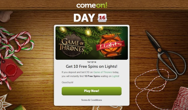 ComeOn Casino Christmas Calendar 16th December 2014 Comeon16
