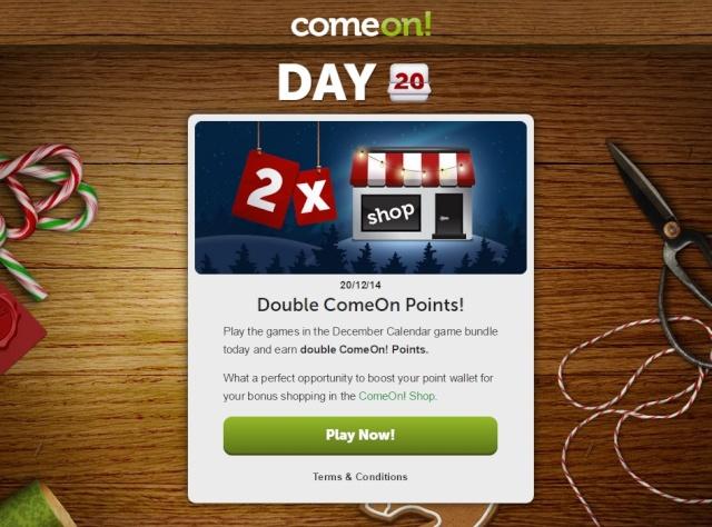 ComeOn Casino Christmas Calendar 20th December 2014 Comeon19