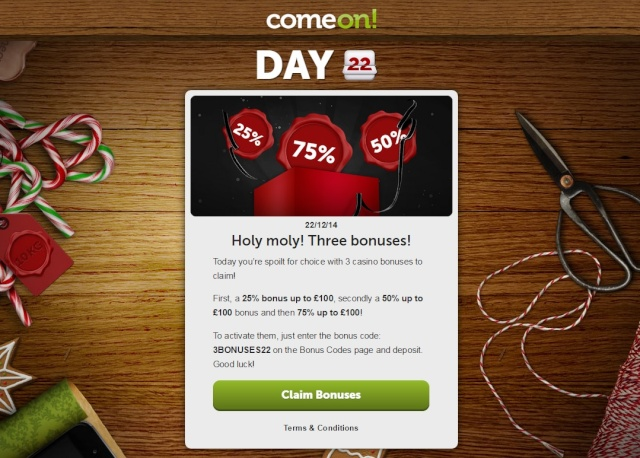 ComeOn Casino Christmas Calendar 22nd December 2014 Comeon20