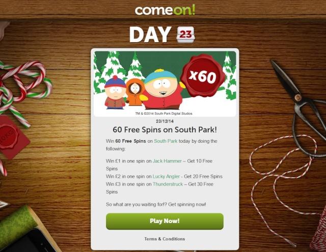 ComeOn Casino Christmas Calendar 23rd December 2014 Comeon21