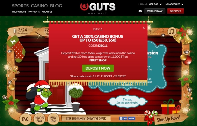 Guts Casino Christmas Calendar 11th December 2014 Guts_c16