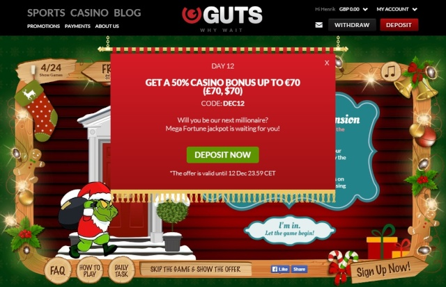 Guts Casino Christmas Calendar 12th December 2014 Guts_c17
