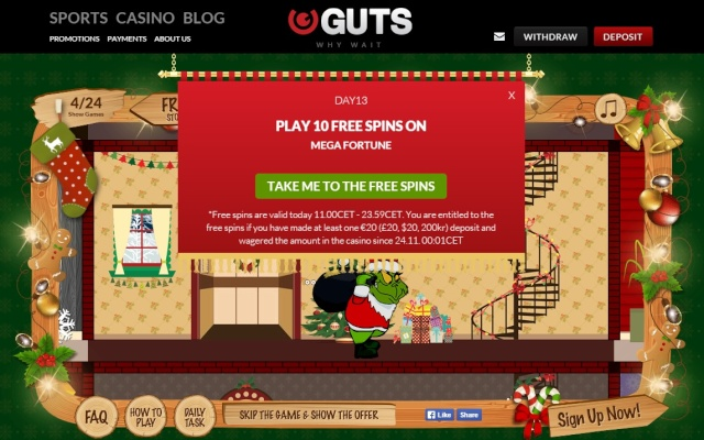 Guts Casino Christmas Calendar 13th December 2014 Guts_c18