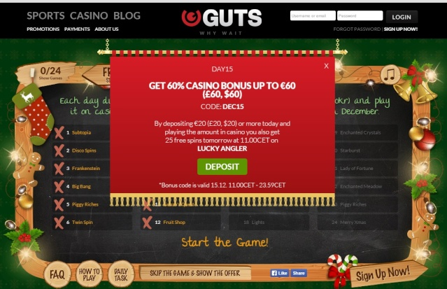 Guts Casino Christmas Calendar 15th December 2014 Guts_c20