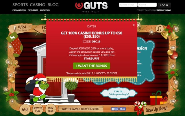 Guts Casino Christmas Calendar 18th December 2014 Guts_c23