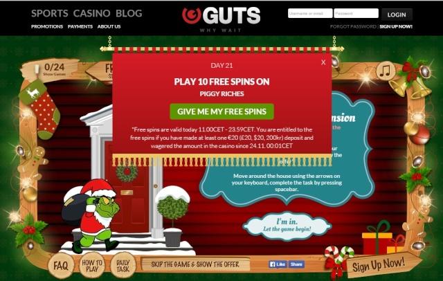Guts Casino Christmas Calendar 21st December 2014 Guts_c25