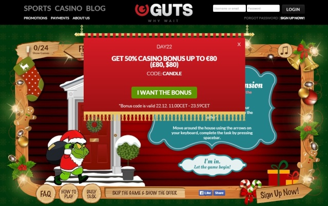 Guts Casino Christmas Calendar 22nd December 2014   Guts_c26