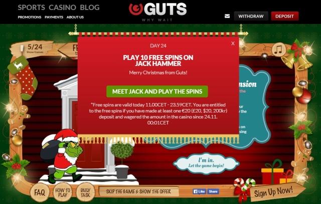 Guts Casino Christmas Calendar 24th December 2014 Guts_c28