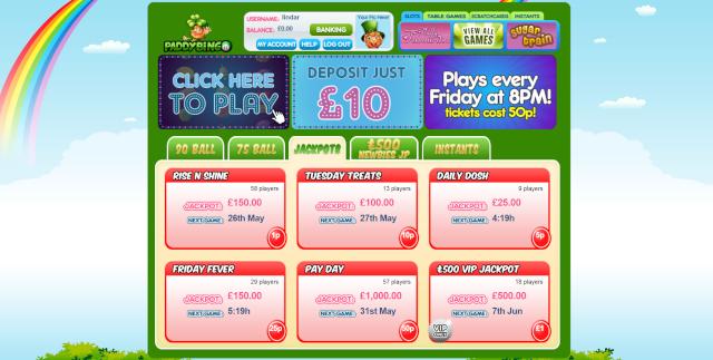 Paddy Bingo 200% Deposit Bonus Get £20 Free Bonus  Paddy_10
