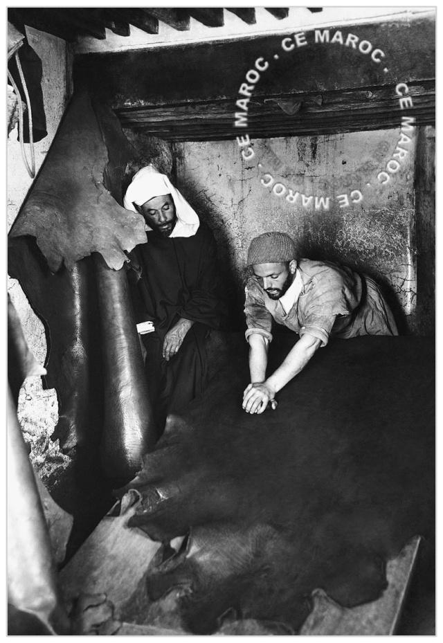 Fez : les tanneurs et l'artisanat du cuir. 14310