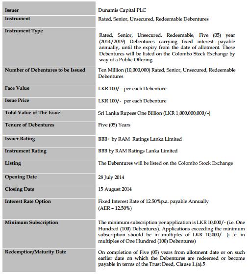 Dunamis Capital Debenture 2014 - Salient features at a glance Dun110